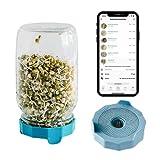 Cell Garden® Sprossenglas – Keimdeckel Blau Spülmaschinenfest und Rostfrei | 1000 ml Keimglas für Sprossen + gratis App mit Keimanleitung und Rezepten | Sprossen Keimgerät