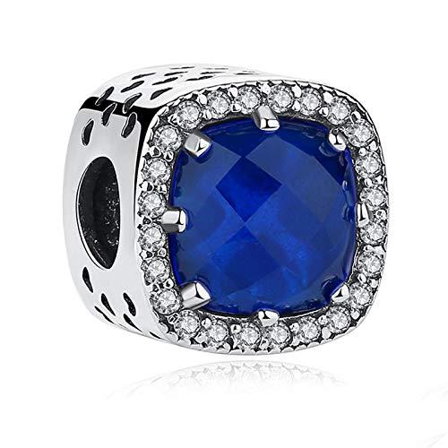 LILIANG Charm Jewelry 100% Plata De Ley 925 Charm Beads Fit Original Pulsera Blue Crystal Square Charm Beads DIY Mujer Fabricación De Joyas