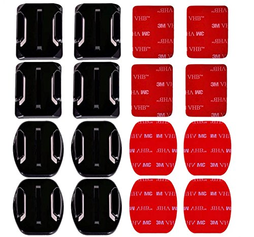 AxPower 16 PCS Helmet 3M Adhesive Pads Sticker Flat Curved Mounts Accessories kit for GoPro Hero 8 7 6 5 4 3+ 3