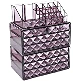 Ikee Design Purple Diamond Pattern Jewelry & Cosmetic Storage Display Boxes 3 Pieces Set