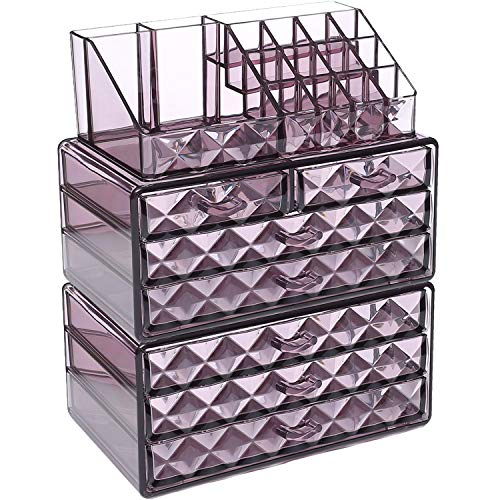 Ikee Design Purple Diamond Pattern Jewelry & Cosmetic Storage Display Boxes 3 Pieces Set