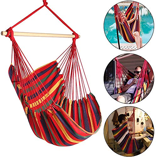 N/X Hanging Rope Hammock Chair Swing Seat for Any Indoor or Outdoor Spaces- Max. 265 Lbs
