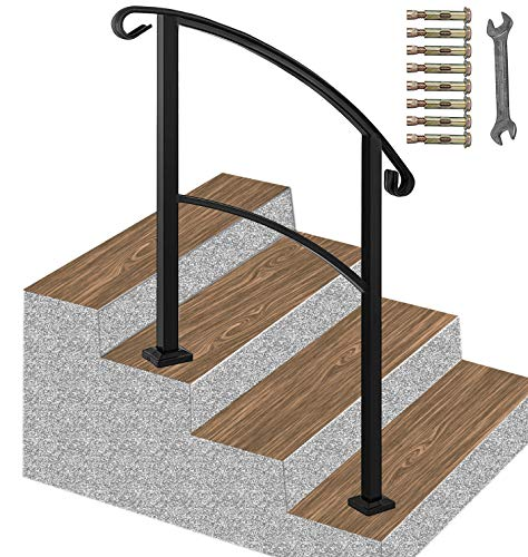 ATHOR Handrail,3 Step Handrail Fits 1 to 3 Steps Mattle Wrought Iron Handrail Stair Rail with Installation Kit Hand Rails for Outdoor Steps(Black))