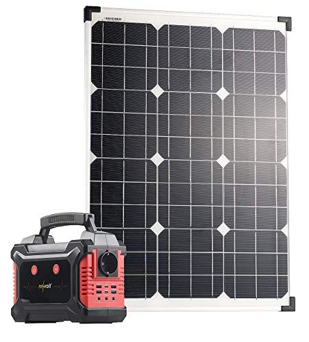 revolt Solar-Power-Banks: Powerbank & Solar-Konverter mit 50-Watt-Solarpanel, 60 Ah, bis 200 W (Solar-Steckdosen Camping)