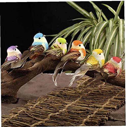 TOSSPER 10 Unids Modelo De Aves Decorativo Artificial Pluma Colorida Pájaros Pájaros Pájaros Ornamento Simulación Espuma Animales para Jardín Decoración del Hogar