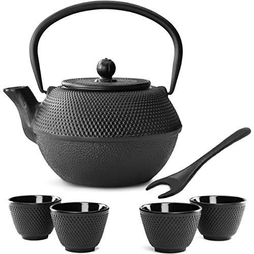 Bredemeijer theepot in kleine zwarte Aziatische gietijzer, 1,1 liter, set met theefilterzeef, theebeker (4 kopjes) & deksellifter.