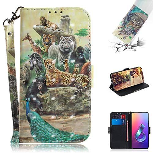 Asus Zenfone 6 (2019) ZS630KL Hülle, SATURCASE 3D PU Lederhülle Magnetverschluss Brieftasche Kartenfächer Standfunktion Schutzhülle Handy Tasche Hülle für Asus Zenfone 6 (2019) ZS630KL (TD-12)