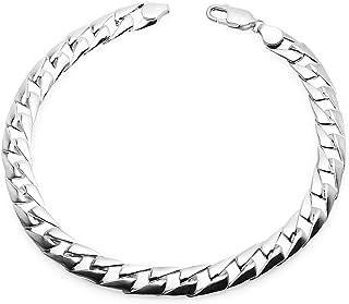 Solid Silver - سوار من الفضة الإسترلينية للرجال مربع الربط كوبي سلسلة أساور 5 مم عرض 8-9 بوصة