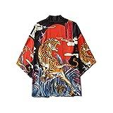 Kimono Tradicional Japones, 2020 Kimono De Moda Japonesa para Hombres Y Mujeres, Cárdigan, Camisa, Blusa, Ropa Asiática Haori, Samurai para Hombre,Black-Xxlarge