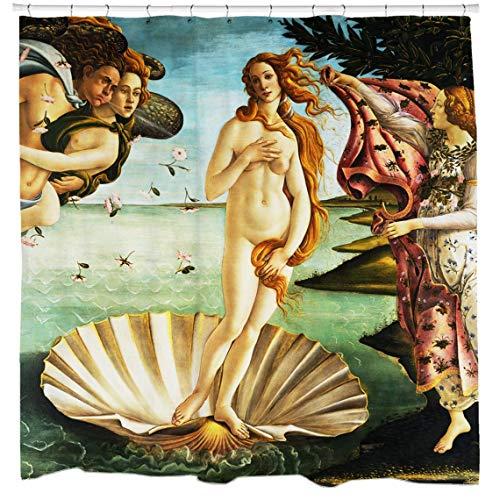 prz0vprz0v Art Duschvorhang, Geburt der Venus, klassische Kunst, Badezimmer-Vorhang, Renaissance-Vorhang, berühmte Kunst-Dekor, schrullige Heimdekoration, 180,3 x 200,7 cm