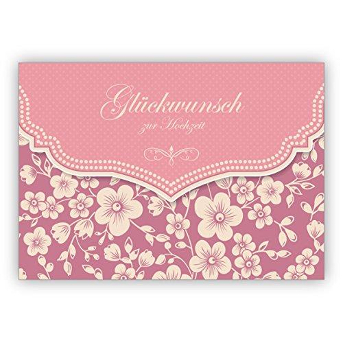 Prachtige vintage trouwkaart met retro kersenbloesempatroon in roze: felicitatie voor bruiloft • edele felicitatiekaart voor de mooiste dag van het leven 1 Grußkarte