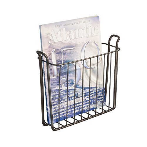 iDesign Classico Steel Wire Wall Mount Newspaper and Magazine Holder Rack for Bathroom Organization, Bronze