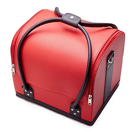 Malette maquillage Beauty case en cuir étanche Grand étui à cosmétiques portable Portable Sac de rangement pour outil semi-permanent pour tatouage,5