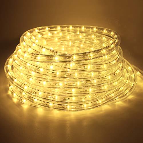 COCOMIA Lumineuse à LED étanche 14 m, LED Tubes Lumineux IP65, Blanc Chaud LED Tubes Lumineux pour Jardin, Noël, Mariage,Fête