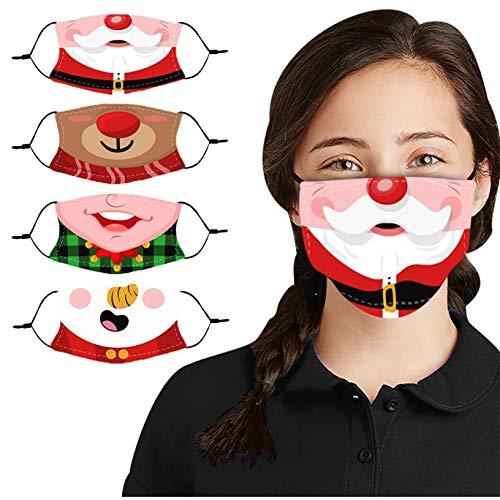 BLUKIDS Unisex Christmas Costume Face_Mask Bandanas Covering Anti-Dust Cute Kawaii Elf Snowman Xmas Party Decor Ear Loop Reusable & Washable Cloth Fabric Cover (4 Pack)