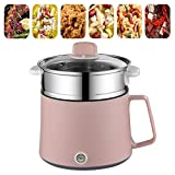 Electric Skillet Portable Multi-Cooker with Steamer Electric Frying Pan Electric Wok Cooking Pots Electric Hot Pot Stock Pot Mini Non-Stick for Dormitory Travel Home Kitchen Family,Pink