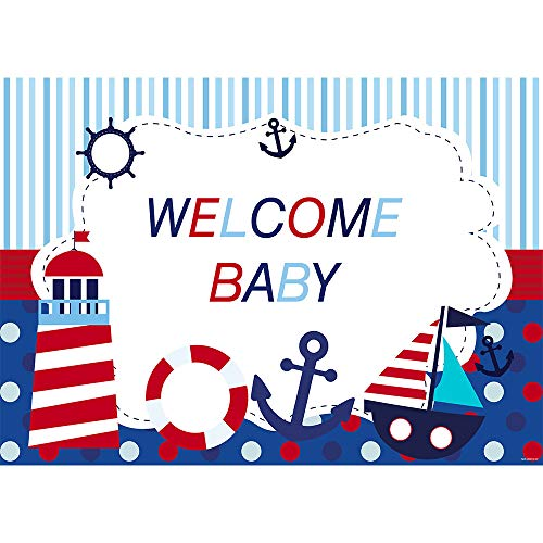 Allenjoy 7x5ft Nautical Theme Welcome Baby Photography Backdrop Navy Blue Marine Voyage Background for Boy Prince Infant Newborn Baby Shower Happy 1st First Birthday Banner Cake Table Decoration Props