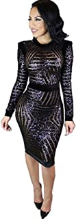 Womens Sexy Black Sequin Scoop Neck Long Sleeve Bodycon Party Midi Dress