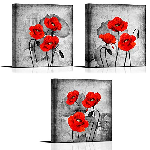 Red Flower Wall Art for Bedroom Wall Decoration 12×12 Inch set of 3 Panels Framed Black White Canvas Paintings for Living Room Bathroom Poppy Florals Prints Artwork Gray Vintage Poster Picture