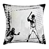 Lunarable Sports Throw Pillow Cushion Cover, Baseball Themed American Sport Team Rustic Design Silhouette Illustration Print, Decorative Square Accent Pillow Case, 18' X 18', Black White