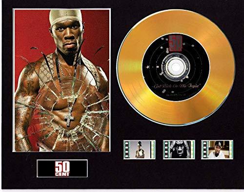 Pantalla de CD con efecto vinilo de 50 centavos, disco negro u dorado y 3 celdas de película (disco dorado, enriquece o muere Tryin sin marco).