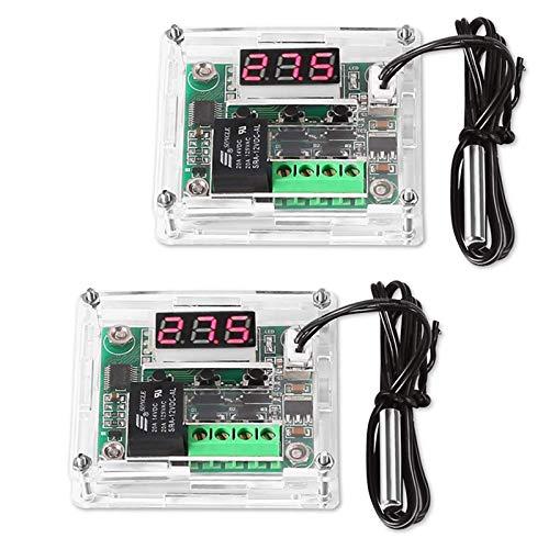 ZHITING 2 Pcs W1209 Red LED Digital Thermostat 12V DC Heizen/Kühlen Temperierschalter Modul Bord mit Wasserdicht 50~110°C Sensor Sonde Temperature Controller (red)