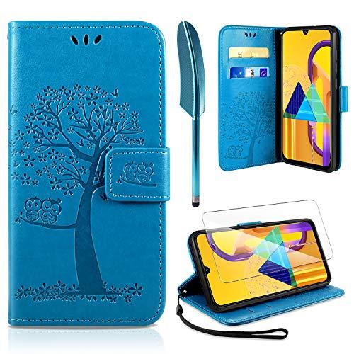 AROYI Kompatibel mit Samsung Galaxy M30S Hülle mit Schutzfolie, PU Leder Flip Wallet Schutzhülle für Samsung Galaxy M30S Tasche, Blau