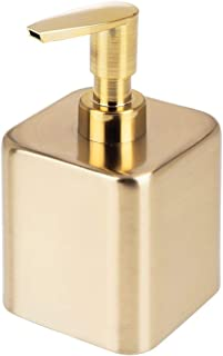 mDesign Small Modern Square Metal Refillable Liquid Hand Soap Dispenser Pump Bottle for Kitchen, Bathroom, Powder Room - Holds Hand Soap, Dish Soap, Hand Sanitizer & Essential Oils - Soft Brass