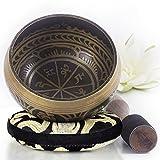 Silent Mind ~ Juego De Cuencos Tibetanos ~ Diseño Antiguo ~ Con Mazo De Superficie Doble Y Cojín...