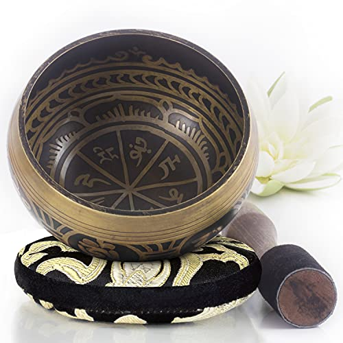 Tibetan Singing Bowl Set ~ Easy to Play with Dual-End Striker & Cushion ~ Beautiful Sound for Holistic Healing, Meditation & Relaxation ~ Gratitude Pattern ~ Antique Light Brown Bowl
