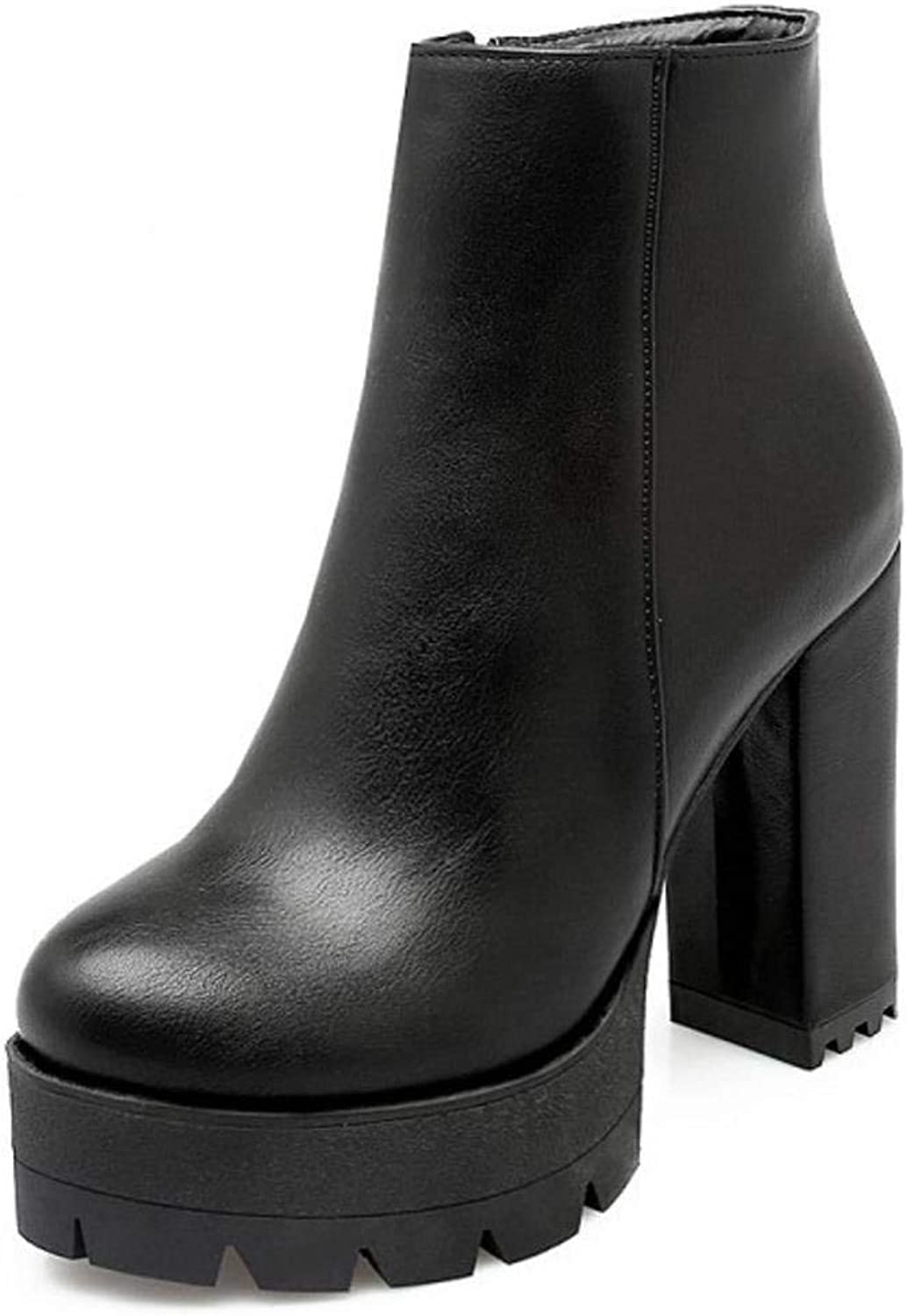 Unm Women Western Boots Chunky Heel High Platform shoes