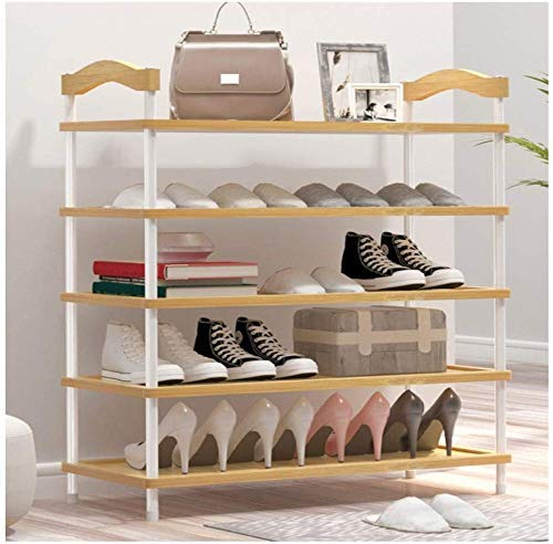 ZJZ Einfacher Schuhschrank, Home Multilayer Massives Bambusholz Platzsparender Schuhschrank Zusammenbau Tür für Schlafsäle Kleines Schuhregal