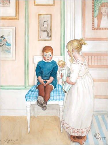 Posterlounge Leinwandbild 50 x 70 cm: Gunlög: Sag, hast du Angst vor Mir? von Carl Larsson - fertiges Wandbild, Bild auf Keilrahmen, Fertigbild auf echter Leinwand, Leinwanddruck