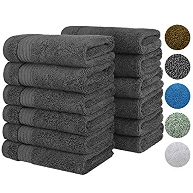 2018 (New Collection) Luxurious Soft Hotel & Spa Quality 13'x13' Wash Cloth Set of 12 100% Cotton and Eco-Friendly (Charcoal Grey Washcloths for Bath)