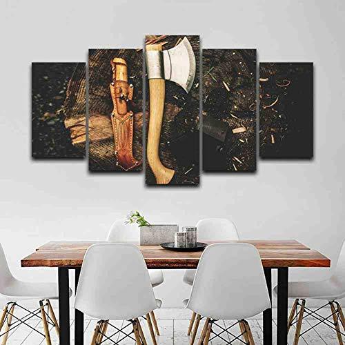 GIAOGE Canvas muurkunst foto's Moderne lijst woonkamer 5 stuks bijl gereedschappen hout Moderne decoratie Hd gedrukte poster schilderij ohne gerahmt 20x35 20x45 20x55 cm