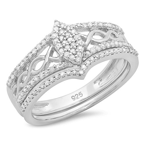 Dazzlingrock Collection 0.33 Carat (ctw) Round Diamond Ladies Bridal Marquise Shape Vintage Engagement Ring With Matching Band Set 1/3 CT, Sterling Silver, Size 7 Diamond Ladies Bridal Set