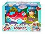 Pinypon - My First, Happy Vehículos Coche, Cochecito rojo de juguete con ruedas, un cilindro con dibujos para jugar y espacio para una figura de conductor con casco Pinpon incluido FAMOSA(700016288)