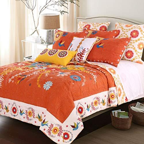 3pc Orange Yellow Blue Red White King Quilt Set, Floral Themed Bedding Flower Floral Vintage Folk Birds Funky Vine Bright Shabby Chic Bold Boho Bohemian Vibrant Stylish, Cotton
