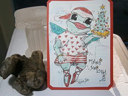 Weihnachtskarte handgemalt schrill Frosch mit Weihnachtsbaum crazy Elfe Ballerina