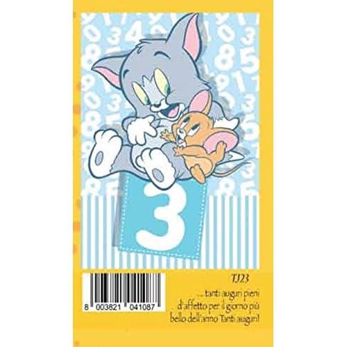 Biglietto Auguri Compleanno 3 anni celeste bambino TOM e JERRY warner br