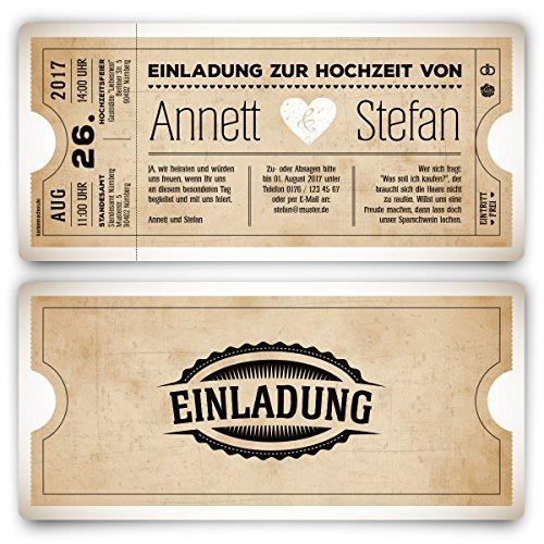 20 x Einladungskarten zur Hochzeit als Eintrittskarte Vintage Herz Retro Einladung Karte in Weiß