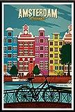 xiangpiaopiao Nueva York, Países Bajos, Ámsterdam, Londres, Viaje, Ciudad, Paisaje, Póster, Carteles E Impresiones, Lienzo, Pintura, Decoración, 50X70Cm Kq-1058