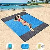 HISAYSY Alfombra de Playa, 210 x 200 cm XXL Manta de Picnic de Bolsillo Impermeable Extra Grande, a Prueba de Arena & Lavable con 4 Estacas (Azul 2)