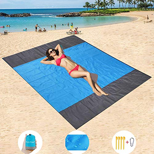 HISAYSY Beach Blanket Outdoor Picnic Blanket, Large 210 x 200cm Waterproof Lightweight No Sand Beach Mat Outdoor Picnic Blanket for Travel, Camping, Hiking (Blue 2)