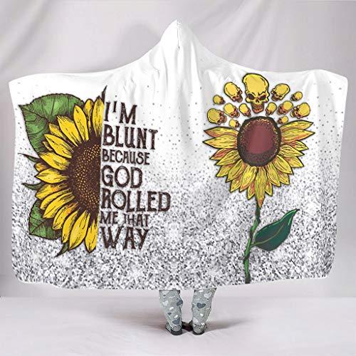 O2ECH-8 I'm Because God Rolled me That Way Sunflower Glitter deken met capuchon Groot Design kap deken Sherpa Comfortabel Robe Hoodies - Past Sofastoel