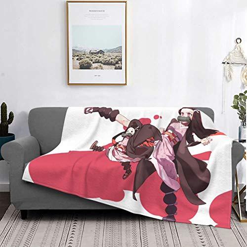 FXNOW Throw Blanket Demon Slayer Kimetsu no Yaiba Nezuko Kamado Flannel Fleece Blanket for Couch Sofa or Bed
