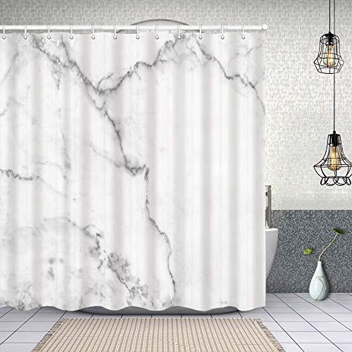Rideau de Douche Tissu Polyester,surface en marbre noir blanc pour faire un comptoir en céramique carreaux de texture légère blanche gris,Rideau de Douche Imperméable avec 12 pcs Crochets 150x180cm