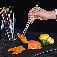 JMWJD シックなラウンド箸チタン304ステンレススチール金メッキ銀のバーに有用中国食器箸1ペア22センチメートル 木の箸 (Color : 9)