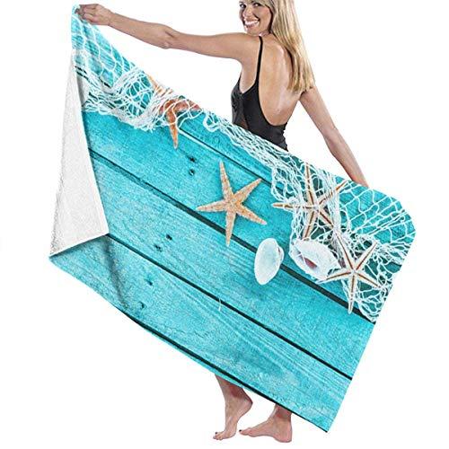 asdew987 Toallas de playa para mujeres y hombres, red de pesca de mar, conchas de mar, toallas de baño de secado rápido, multiusos, manta de alberca, grande, 31 x 51 pulgadas