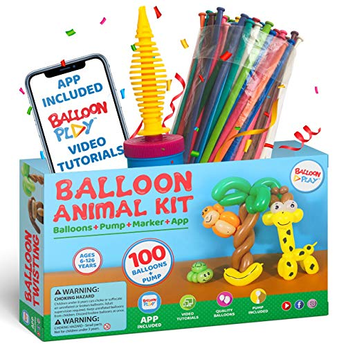 Balloon Animal Starter Kit with App | beginners balloon kit with 100pcs long Balloons for balloon animal, handheld Pump and Balloon App with 24+ video tutorials fun gift for Boys, Girls & Adults for hours of creative activity.